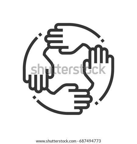 Teamwork icon, part of the square icons, business elements icon set. The illustration is a vector, editable stroke, thirty-two by thirty-two matrix grid, pixel perfect file. Royalty-Free Stock Photo #687494773
