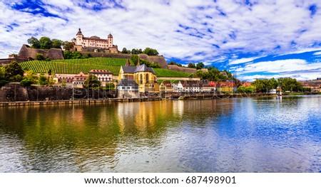 Travel and landmraks of Germany - beautiful Wurzburg town #687498901