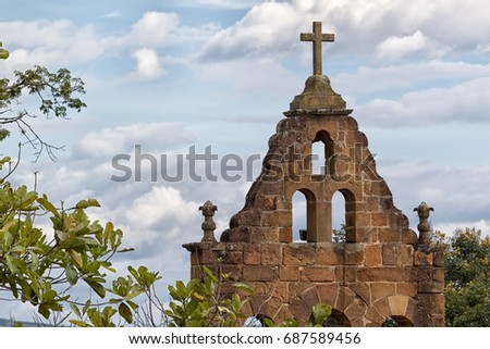 christian church tower in Barichara Colombia #687589456