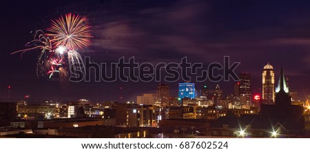 4th of July Fireworks Over Downtown Des Moines