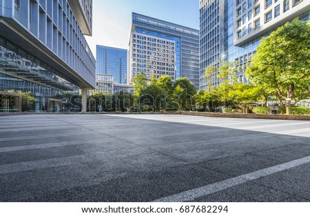 Empty floor with modern business office building   #687682294