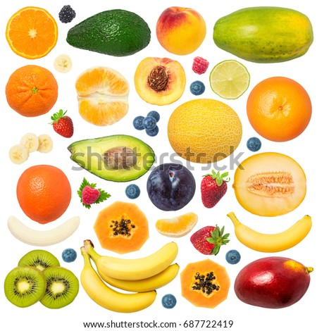 Fruits isolated on white background: peach, strawberry, plum, melon, papaya, avocado, blackberry, blueberry, raspberry, lime, avocado, banana, mango, tangerine, tangelo, orange, kiwi