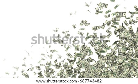 Currency Money Dollar Flying in air and making a pattern for text space #687743482