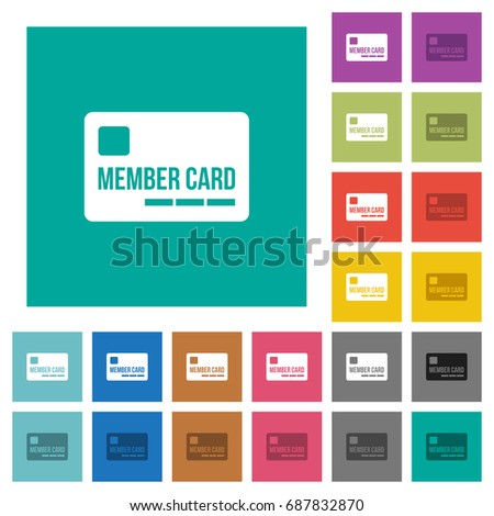 Member card multi colored flat icons on plain square backgrounds. Included white and darker icon variations for hover or active effects. #687832870