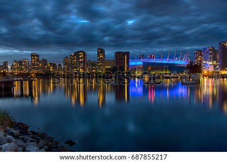 VANCOUVER, BC, CANADA - JULY 22, 2017 BC Place Stadium and Falls creek reflection #687855217