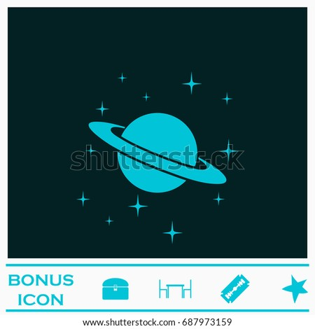 Planet Saturn icon flat. Simple blue pictogram on dark background. Illustration symbol and bonus buttons