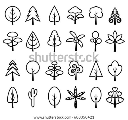 Tree icon set vector black and white, cute plant cartoon collection outline #688050421