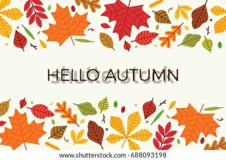 Card, banner or poster flat vector template on 'Hello Autumn'. Colorful leaves