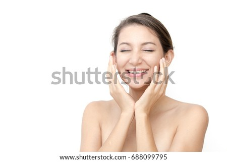 Beautiful Asian Woman Touch her Face , Portrait Beauty skin care concept, Fashion beauty model, Woman with Happy emotion. isolated on white background #688099795