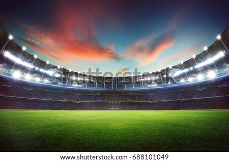 Empty night grand stadium with sport light , evening or night scene . #688101049