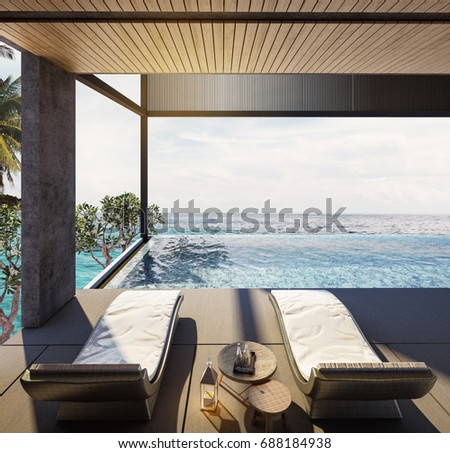 Balcony,Swing sofa and daybed on the Swimming pool with  the sea at sunlight  - 3d rendering #688184938