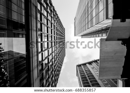 Glass surface view in district business centers with black and white color Royalty-Free Stock Photo #688355857