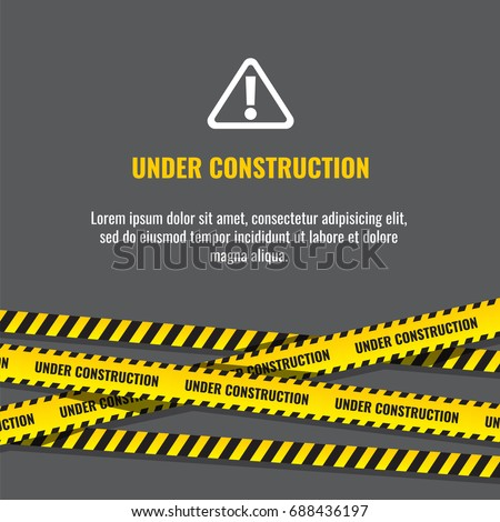 Under construction website page with black and yellow striped borders vector illustration. Border stripe web, warning banner Royalty-Free Stock Photo #688436197