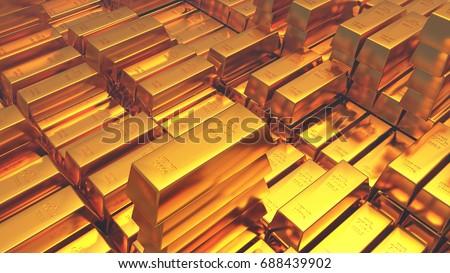 Gold bullion gold bars treasury wealth Ingot luxury finance goods trading,stacked gold bars. #688439902