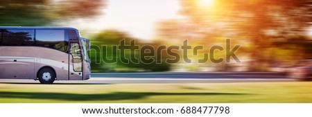 Bus on asphalt road in beautiful spring day at countryside #688477798