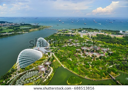 Singapore - Jun 13, 2017. Bird eyes view of Supertree Grove and Flower Dome at Gardens by the Bay in Singapore. Singapore, the Garden City, is a sovereign city-state in Southeast Asia. #688513816