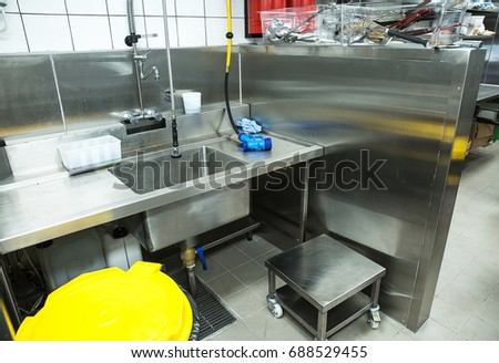 Professional kitchen, view counter in stainless steel . #688529455