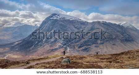 Buachaille Etive Mor, looking into Coire na Tulaich, viewed from the West Highland Way,  Glencoe, Scottish Highlands. #688538113
