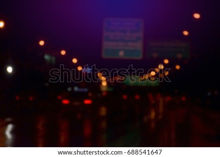 blurred bokeh lights at night from Bangkok, Thailand for background usage #688541647