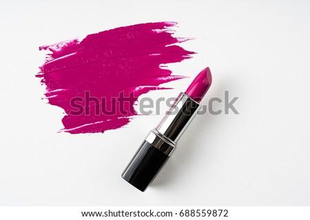 Pink Lipstick and lipstick smear./ Lipstick. #688559872