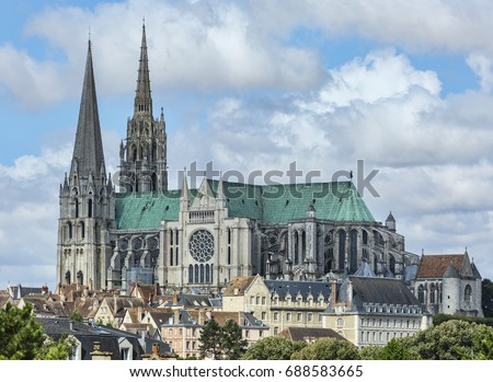 The south view of Cathedral of Our Lady of Chartres, France. Royalty-Free Stock Photo #688583665
