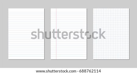 Set of realistic vector illustration of blank sheets of square and lined paper from a block isolated on a gray background Royalty-Free Stock Photo #688762114
