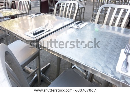 outdoor Al fresco dining, cafe, table settings city #688787869