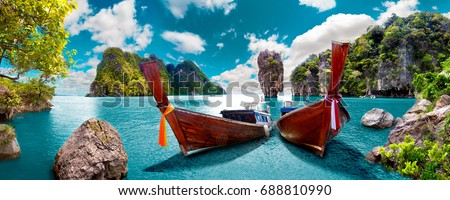Scenic landscape.Phuket Seascape. Scenery Thailand sea and island. Adventures and travel concept Royalty-Free Stock Photo #688810990