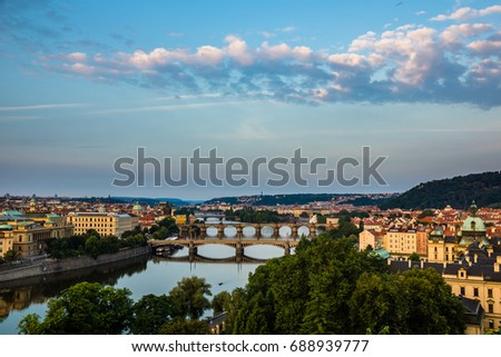 View on the bridges on Vltava river and old town Prague, Czech Republic #688939777