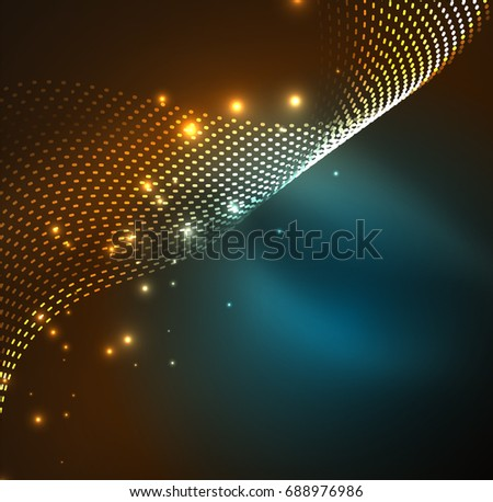 Vector wave particles background - 3D illuminated digital wave of glowing particles. Futuristic and technology vector illustration, HUD modern element #688976986