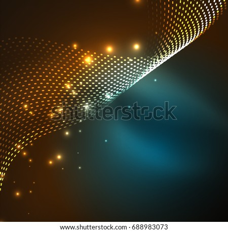 wave particles background - 3D illuminated digital wave of glowing particles. Futuristic and technology illustration, HUD modern element #688983073