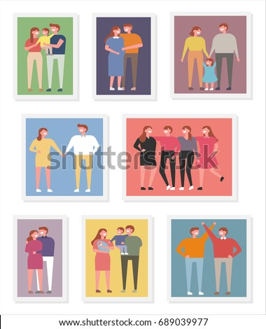 family and friends photo vector illustration flat design #689039977