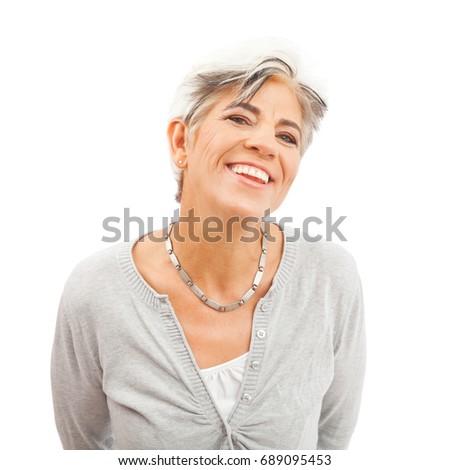 Happy Senior Woman On White Background #689095453