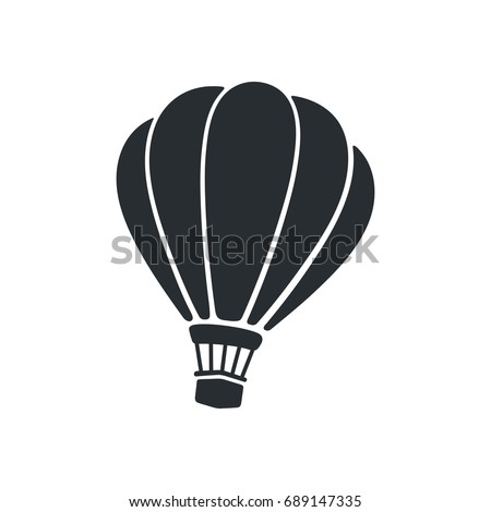 Vector illustration. Silhouette of hot air balloon. Air transport for travel. Isolated on white background Royalty-Free Stock Photo #689147335