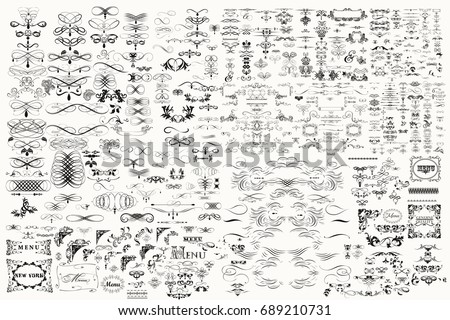 Huge mega big collection or set of vector decorative elements for design Royalty-Free Stock Photo #689210731