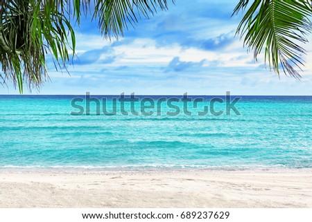 View of beautiful tropical beach at resort #689237629