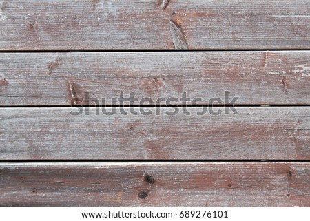 Faded wooden facade with horizontal slats, closeup. #689276101