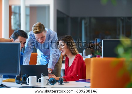 Startup business people group working everyday job at modern coworking  office space Royalty-Free Stock Photo #689288146