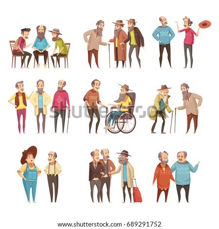 Senior men groups socialization activities retro cartoon icons collection with cane and in wheel chair vector illustration  #689291752