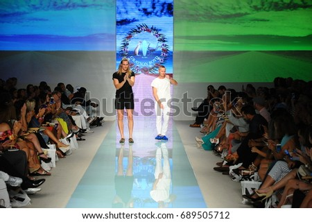 MIAMI, FL - JULY 20: Sam Gray and Michael Boyd walks the runway during Grayson Boyd fashion show for Funkshion Miami Swim Week on July 20, 2017. #689505712