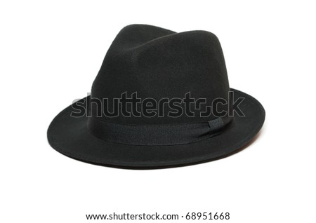 Black felt hat isolated on white background #68951668