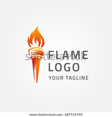 torch fire logo vector icon