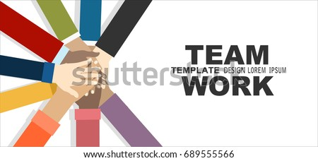 Young people putting their hands together. Friends with stack of hands showing unity and teamwork, top view. Vector flat illustration. Royalty-Free Stock Photo #689555566
