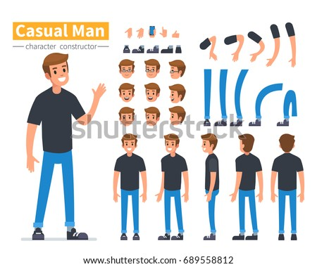 Casual man character constructor for animation. Flat style vector illustration isolated on white background.   Royalty-Free Stock Photo #689558812