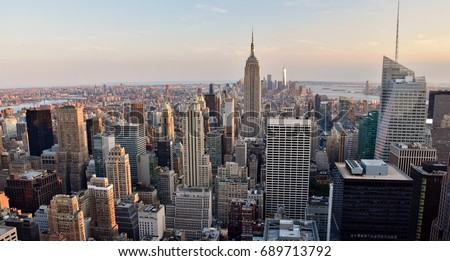 New York City, USA - July 3, 2017: The skyline of midtown and downtown New York City. #689713792