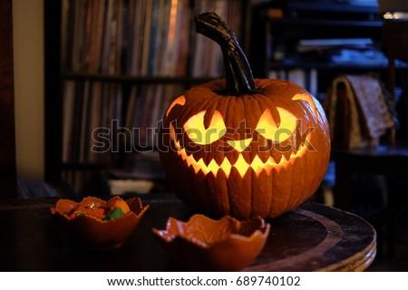 Halloween pumpking carving at home Jack o lantern #689740102
