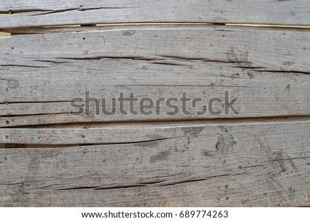 close up old wood sheet walkway #689774263
