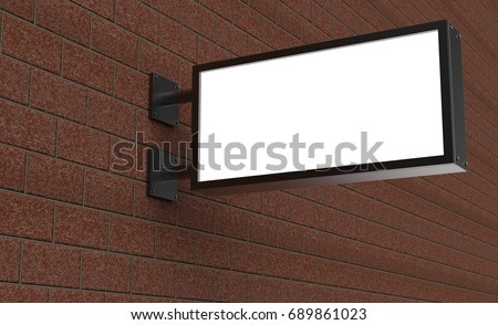 Backlit signage board, led glow advertising board, vinyl company sign on brick wall.