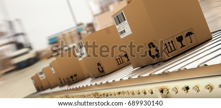 Packed courier on production line against  cardboard boxes in warehouse Royalty-Free Stock Photo #689930140