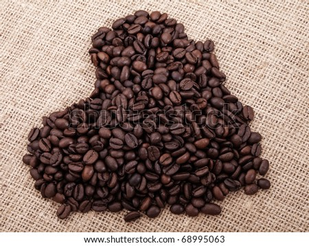 a coffee in the shape of heart on canvas #68995063